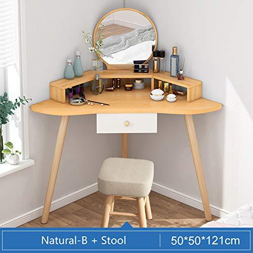 PeiQiH Victory Corner Frisiertisch Make-up Tisch,Klein Schminktische Mit Spiegel Und Hocker,1 Schublade,Lagerregale,Für Mädchen Und Frauen
