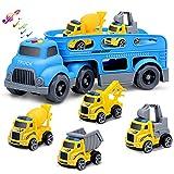 Fivejoy Veicoli da Costruzione Auto Giocattolo, 12 Pezzi Camion da Trasporto con Escavatore Mixer Gru Dump, Set di Auto a Frizione con Suoni e Segnale Stradale, Giocattoli per Bambini di 3+ Anni