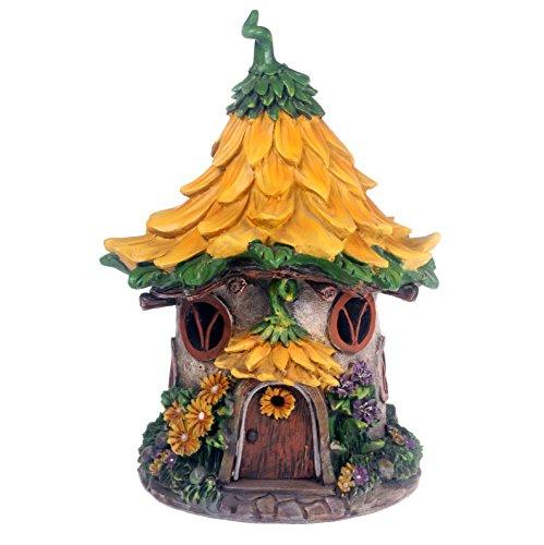 Adorno de jardín con forma de casa de hadas alimentada por energía solar, color amarillo
