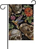 フラッグ 人間の頭蓋骨とバラ鳥と花死んだ庭のハロウィーンの日旗バナー屋外の家の庭の植木鉢の装飾のための 30 x 45cm