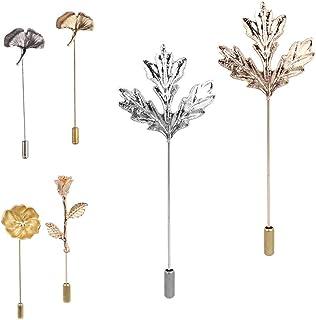 Juego de broches, pins, solapas, pines flor de ojal. Ramillete de hoja de camellia/maple con tapón de aguja largo para Tra...
