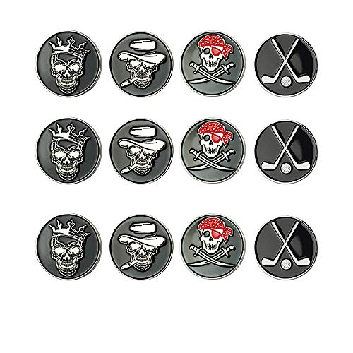 GOLTERS Golf Ball Markers Assorted Patterns Value Pack of 12 Golf Gifts, Golf Cap Clips and Divot Repair Tools Parter Accessories Sets for Men Women Kids Golfer(Skull Ball Markers)