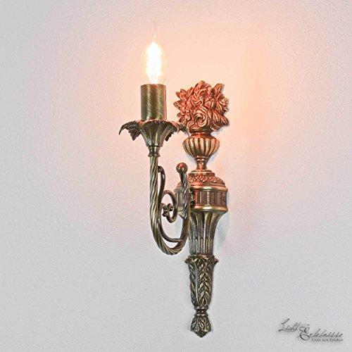 Wandlampe Echt-Messing Hell Bronziert Leuchter Jugendstil Handarbeit E14 60W Wandleuchte...