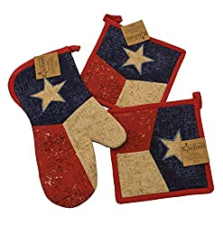 Vintage Style Texas Flag Oven Mitt and Pot Holders Set