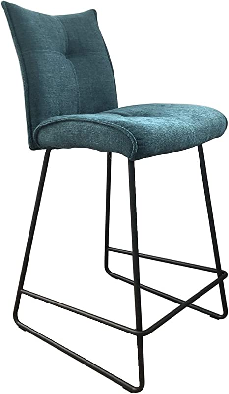 Meubletmoi Tabouret de Bar Tissu Bleu Ultra Confortable Chaise Haute Design Lounge Contemporain Lucky