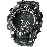 [ラドウェザー]ソーラー腕時計 メンズ時計 デジタルウォッチ ミリタリー 100m防水 サバゲ― ストップウォッチ (カモフラブラック(反転液晶))