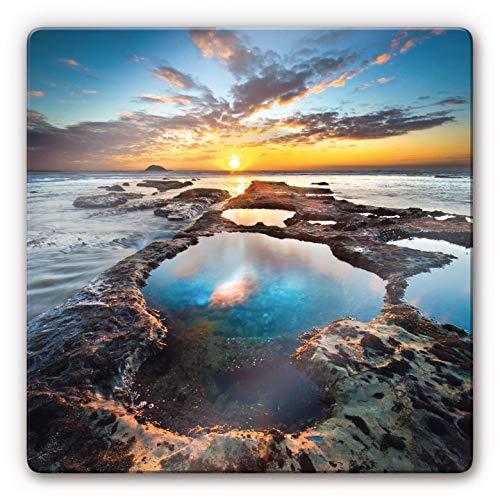 Cuadro de cristal Maori Bay Nueva Zelanda, puesta de sol, océano, bahía natural, 20 x 20 cm