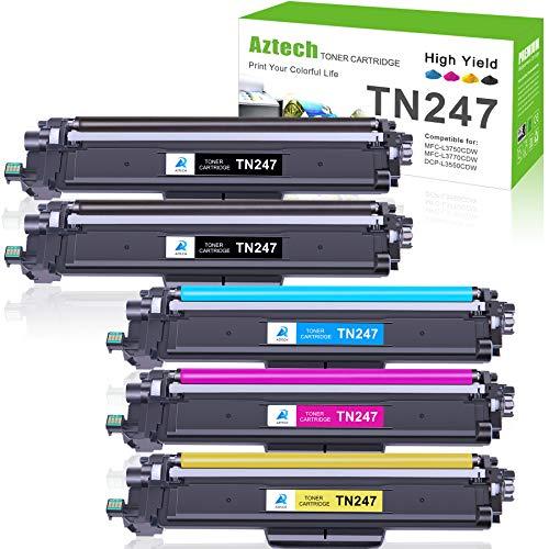 Aztech Kompatibel Tonerkartusche als Ersatz für Brother TN-243CMYK TN247 Brother MFC-L3750CDW MFC-L3770CDW HL-L3210CW HL-L3230CDW MFC-L3710CW DCP-L3550CDW Toner (Schwarz,Cyan,Gelb,Magenta, 5er-Pack)