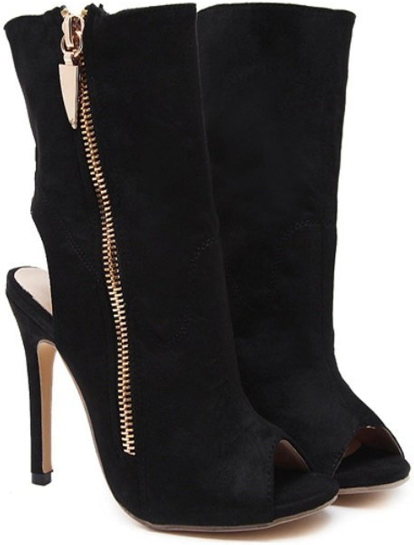 Women's Fine and Super High Heel-Stylish Flip-Side High Heel Fish Beak Boots-Solid Side Zipper Sandals-Comfort Heel shoes Zhhzz