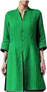 قمصان Frieed نسائية بأزرار من القطن والكتان، بأكمام طويلة وياقة على شكل حرف V