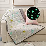 VECOKNA Weighted Blanket 7lbs, Glow in The Dark Cooling Throw Blanket for Kids   Teens, Minky Bottom & Cool Cotton Top Reversible Weighted Blanket, Twin/Full Size 41'x60', Grey , Stars Moon Pattern