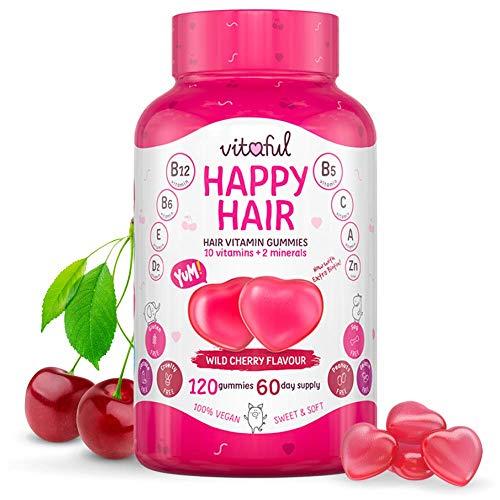 VITAFUL Happy Hair - Supporta una più rapida crescita dei capelli e promuove la salute dei capelli, della pelle e delle unghie. Vitamina gommosa per capelli - 120 gommose sufficienti per 2 mesi