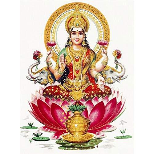 5D DIY Diamond Painting Cross Stitch Kit Diamond Embroidery Lakshmi Hindu Goddess, Hindu Art Yoga Buddha Christmas Gift 11.8 x 15.8 Inch