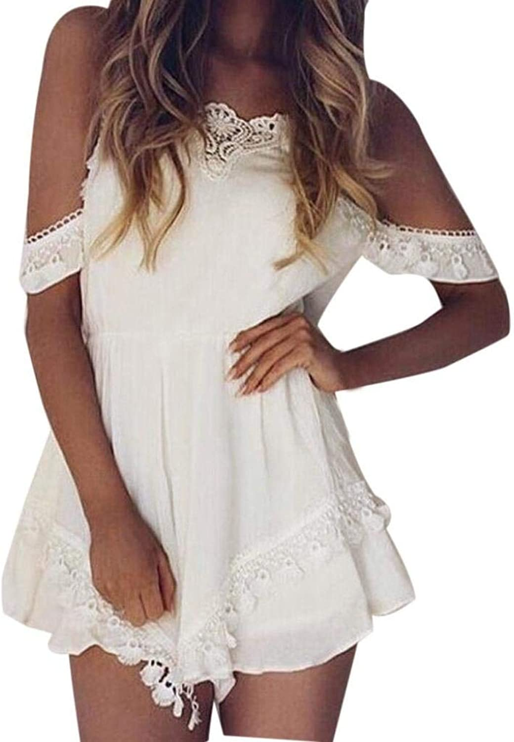 Haiyugua Women VNeck Playsuit Off Shoulder Lace Bodycon Party Dress Elegants Dress for Women