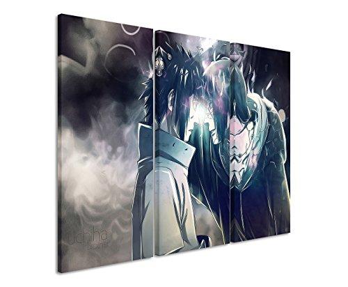 Leinwandbild 3 teilig Uchiha_Brothers_Naruto_3x90x40cm (Gesamt 120x90cm) _Ausführung schöner Kunstdruck auf echter Leinwand als Wandbild auf Keilrahmen