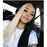 Half Black Half Blonde Synthetic Hair Wig None Lace Front Wigs 24 Inch Long Straight Hair For Black Women Machine Made Lace Wigs With Baby Hair Bleached Knots 150 Density #613 Cosplay