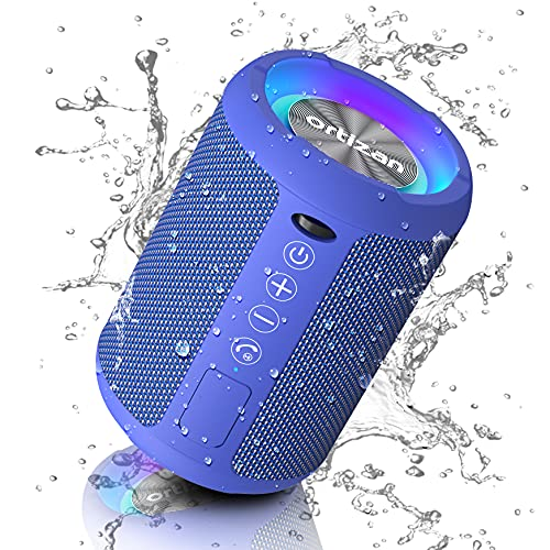 Ortizan Kabelloser Bluetooth Lautsprecher mit LED Licht - Tragbarer Lautsprecher Bluetooth Boxenmit Enormer Bass, IPX6 Wasserschutz, Freisprechfunktion, 15h Akku, für Phone, USB, Outdoor, Blau