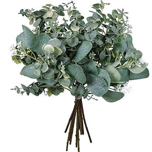 Mixed Eucalyptus Leaves Stems Bulk Artificial Silver Dollar Eucalyptus Leaves Picks and Faux Eucalyptus Leaves Branches for Vase Bouquets Floral Arrangement Wreath Rustic Farmhouse Greenery Decoration