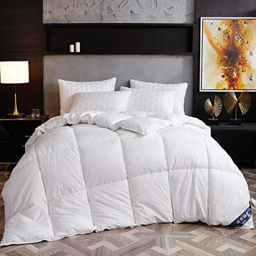CHOU DAN super king duvet New White Goose Down Duvet Quilted Comforter Blanket Winter Warm Hotel Quilt with Cotton Cover Double King Family Size RU-200 x 230cm 2kg_Type 2