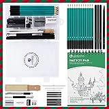 Crayon de Croquis Crayons de Dessin Professionnels avec Boîte Gomme Crayon de Charbon Graphite Outils Crayons Pour Dessin D'art 100 Pages Sketchbook pour Dessiner pour Artistes Ėtudiants Débutants