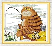 クロスステッチ キット海沿いの猫釣り40x50cm DIYクロスステッチキット刺繍初心者向けホームデコレーション(11CTプレプリントキャンバス刺繍キット 手作り