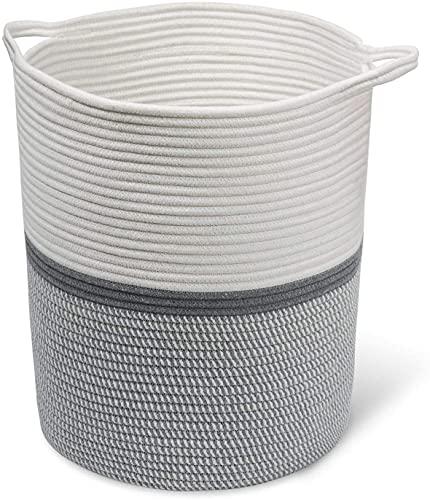 INDRESSME Large Cotton Rope Basket 14.2'' x 13.4'' x 16.2'' Baby Laundry Toy Basket Storage Kids Tall Woven Basket Blanket Nursery Hamper Bin