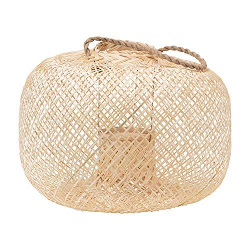 Bloomingville Hand-Woven Bamboo Lantern with Jute Handle & Glass Insert, Natural Kerzenhalter, Natur