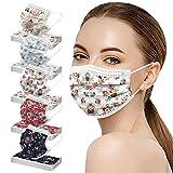 AmyGline 50 Stück Einweg,3-lagig Vliesstoff,Mund-Nasen-Schutz,Schmetterling Motiv,Atmungsaktive,Multifunktionstuch Halstuch Bandana für Erwachsene