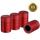 CKAuto Tire Valve Stem Caps, Red, 4 pcs/Pack, Anodized Aluminum Tire Valve Cap Set, Corrosion Resistant, Universal Stem Covers for Cars Trucks Motorcycles SUVs and Bikes