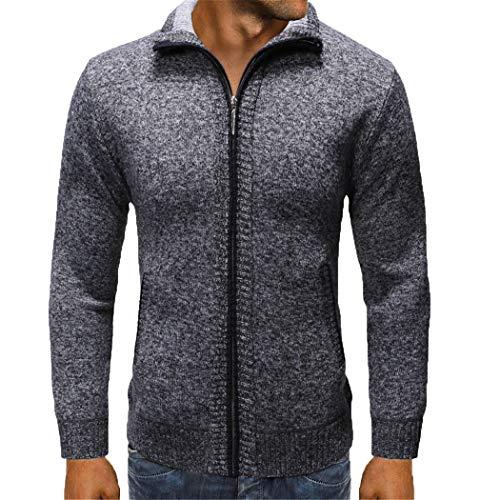 Jerinumkoy Abrigo de suéter de otoño Invierno para Hombre, Chaqueta Gruesa con Cuello mandarín y Talla Grande Dark Grey L