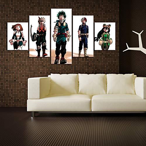 FJNS My Hero Academia Cuadros en Lienzo Arte 5 Piezas Boku No Hero Academia póster Pinturas de Pared para la decoración de la Pared de la habitación del hogar,B,40x60x2 40x80x2 40x100x1