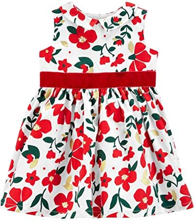 Carter s Baby Girls Full Skirt Party Dress Red Floral 24 Months product image
