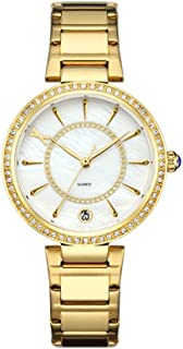 Wangyr Gold Bronze Silver Woman Girl Lady Student Simple Diamond Rhinestone Calendar Ultra-thin Quartz Watch Solid Stainless Steel Strap Fashion Waterproof 3ATM Holiday Gift Unique Fashion Classic Cas