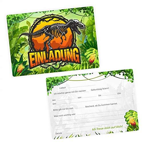 5 Einladungskarten Dinosaurier T-Rex inkl. 5 transparenten Briefumschlägen - Kindergeburtstag Dino Junge grün gelb