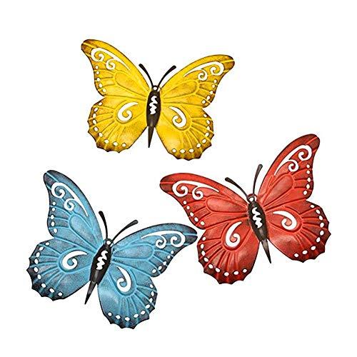 tackjoke 3 Stück Metall Schmetterling Deko Garten Zauberstab Wanddeko Groß Schmetterling Wandschmuck Für Drinnen Draußen Hof Wandbehang Dekoration Wandkunst 9,4 x 7,5 x 0,6 Zoll