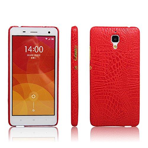 zl one Telefono Caso per Xiaomi Mi4 Custodia PU Coccodrillo Pelle Copertura Back Case Cover (Rosso)