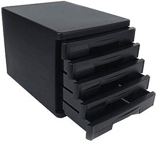 HongLianRiven Module Classement Armoire de Bureau Organisation du Meuble de Rangement en Plastique à 5 tiroirs - Gris/Noir...