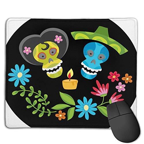 Mousepad Poster Bunte Schädel Kerze Blumenkranz Mittlere Geschwindigkeit Soft Gaming Mouse Mat