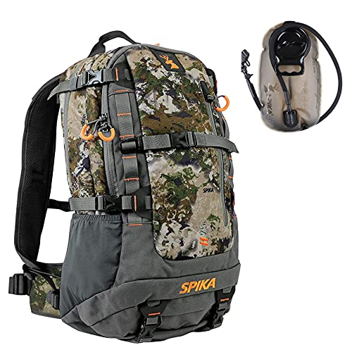 SPIKA Camo Hunting Backpack Tactical Military Bags Waterproof Daypack for 25L Capacity with Water Bladder Removable Hip Belt