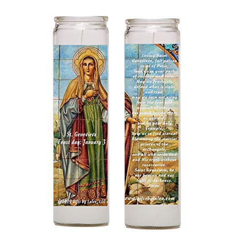 Saint Genevieve Patron of Paris in The Roman and Orthodox Traditions Set of Two 2 Glass Candles with Prayer