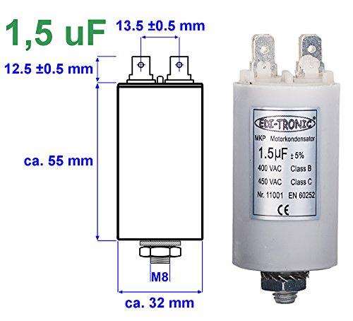 Kondensator Anlaufkondensator Motorkondensator Arbeitskondensator MKP 1,5µF 450V