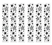 Beistle 52145-BKS 6ピース スターパーティーパネル 12インチ x 6フィート ブラック/シルバー
