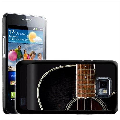 Fancy Een Snuggle Close Up Van Zwart Houten Gitaar Ontwerp Hard Case Clip Op Achterzijde Cover voor Samsung Galaxy S2 i9100