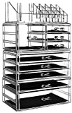 Cq acrylic Large Makeup Organizer Skin Care Cosmetic Display Cases,Stackable Storage Box Make up Container Cube With 9 Drawers,Clear