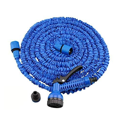 Huishoudelijke Waterpijp Waterpistool Tuinslang, 3x Uitbreidbare Waterslang, 7-functie Spuitpistool, Flexibele Magische Slang, Lekvrij, Lichtgewicht, Eenvoudig op te bergen (blauw) Tuin Telescopische Waterpijp