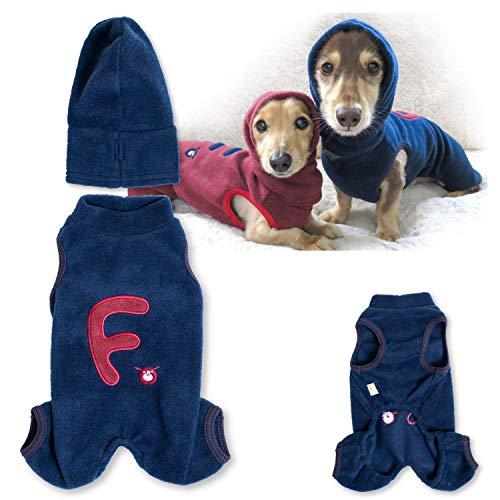 犬猫の服 full of vigor_スヌード付きFアップリケフリースつなぎ_5/ネイビー_NL_小型犬・ダックス用