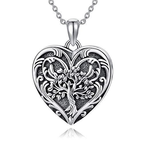 SOULMEET S925 Sterling Silber Baum des Lebens Herz Medaillon Halskette für Bilder Fotos Stammbaum Personalisierte Halskette Schmuck Geschenk für Frauen Mädchen, Sterling Silber,