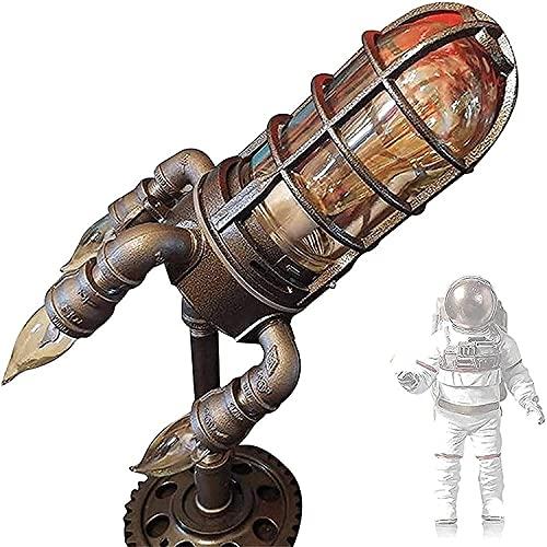 HTDHS Lámpara de cohete Steampunk Lámpara de mesa LED Steampunk Lámpara de mesa de cohete...