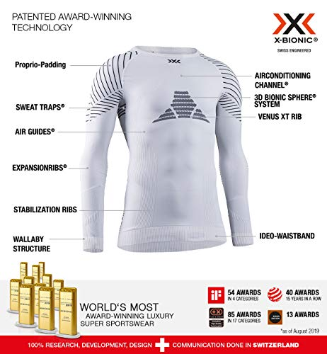 X-BIONIC Invent 4.0 Shirt Round Neck Long Sleeves Women T-Shirt de Sport Maillot de Compression Femme White/Black FR : XS (Taille Fabricant : XS)