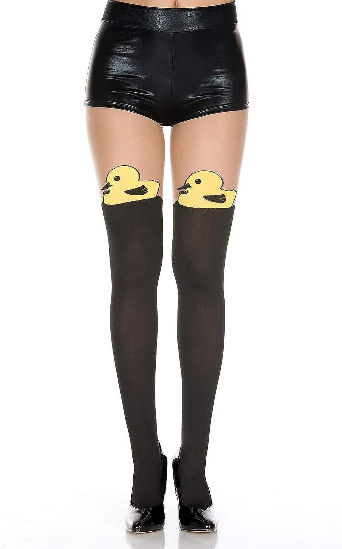 MUSIC LEGS sale Women's Duck Print Faux Max 62% OFF Hi Look Spandex Thigh Pantyho